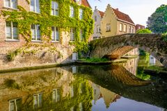 Bruges Brugge cityscape with water canal and bridge Stock Image