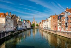 Bruges Brugge cityscape with water canal Stock Photography