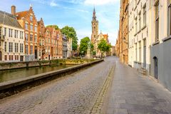 Bruges Brugge cityscape with water canal Royalty Free Stock Photos
