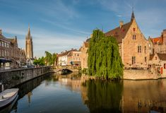 Bruges Brugge cityscape with water canal Stock Photo