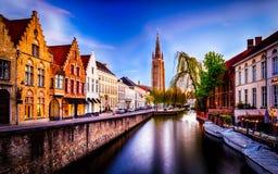 Bruges Brugge i holländsk stad i Belgien arkivfoto