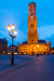 Bruges Brugge Square Belfry Dusk Evening Royalty Free Stock Photo