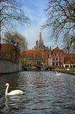 Bruges, brugge view from the canal. Royalty Free Stock Photos