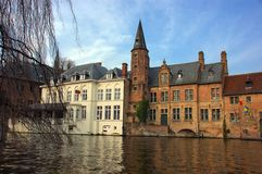 Bruges, brugge, view from the canal. Royalty Free Stock Images