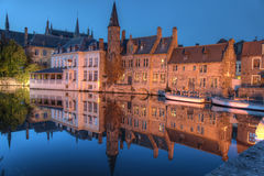 Bruges buildings on canal. Buildings along the famous canals of Bruges, Belgium, at night Royalty Free Stock Image