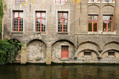 Bruges. Buildings On Canal In Bruges, Belgium Royalty Free Stock Image