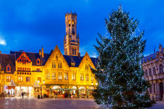 Bruges. Burg Square with the Christmas tree at Christmas. Stock Image