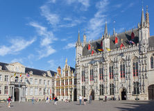 Bruges - The Burg square and facade of gothic town hall. Royalty Free Stock Photography