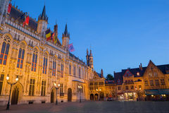 Bruges - The Burg square and facade of gothic town hall. Royalty Free Stock Photos