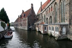 Bruges Canal. Well-known canal in Bruges, Belgium royalty free stock photos
