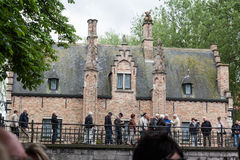 Bruges Canal Belgium Historical Brick House Royalty Free Stock Images