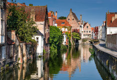 Bruges canal, Belgium. Scenery with water canal in Bruges, Venice of the North, cityscape of Flanders, Belgium stock photography