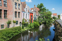 Bruges - Canal from bridge on Ezelsraat. Stock Photo