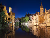Bruges Canal At Night Royalty Free Stock Photos