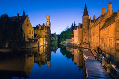 Bruges Canal by night Stock Images