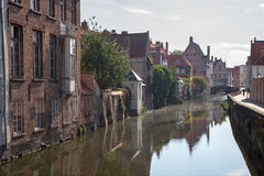 Bruges - Canal from Spaanse Loskaai street Royalty Free Stock Photo