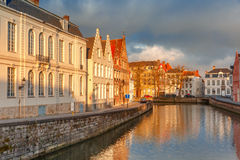 Bruges canal Spiegelrei with beautiful houses Royalty Free Stock Image