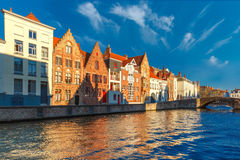 Bruges canal Spiegelrei with beautiful houses Royalty Free Stock Photo