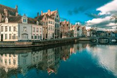 Bruges canal Spiegelrei, Belgium Royalty Free Stock Image