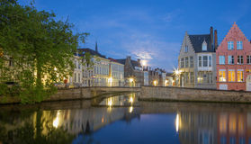 Bruges - Canal and st. Annarei and Verversdijk streets in evening Royalty Free Stock Photography
