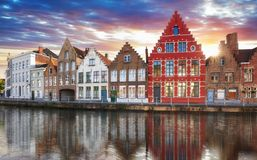 Bruges - Canals of Brugge, Belgium,  evening view. Stock Images