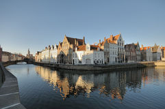 Bruges Canalside Houses. Flemish style Houses along a canal in Bruges (Brugge), Belgium on a bright clear winter day Royalty Free Stock Images