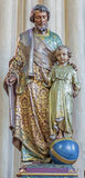 Bruges - Carved polychrome satatue of Holy Jospeph  in the church Our Lady. Stock Image