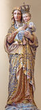 Bruges - The carved and polychromed statue of Madonna in st. Giles (Sint Gilliskerk) from 19. cent. Royalty Free Stock Photography