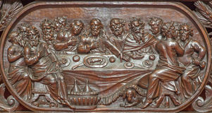 Bruges - The carved relief of the Last supper of Jesus  in Karmelietenkerk (Carmelites church) Royalty Free Stock Image