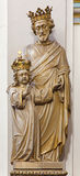Bruges - The carved statue of st. Joseph with the crown in Karmelietenkerk (Carmelites church) Royalty Free Stock Images