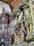 Bruges - The carved statues of angels on the pilpit in st. Jocobs church (Jakobskerk) by B. de Lannoy (1685-1689) Royalty Free Stock Photos