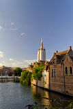 Bruges Cathedral Canal View. Bruges Cathedral Under Repair Canal View, Belgium Royalty Free Stock Image