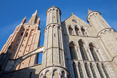 Bruges - Church of Our Lady from south in evening Royalty Free Stock Photo