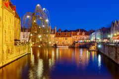 Bruges. City canal in night lighting. Stock Photo