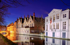 Bruges. City canal in night lighting. Royalty Free Stock Photos