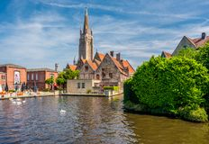 Bruges cityscape with Church of Our Lady Royalty Free Stock Photography