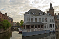Bruges cityscape with its iconic buildings and canals Stock Image
