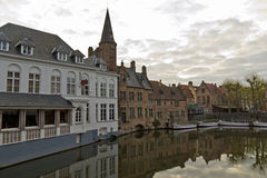 Bruges cityscape with its iconic buildings and canals Royalty Free Stock Image