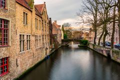 Bruges cityscapes during christmas with lights and blue skies, B. Elgium 2017 royalty free stock photo