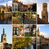 Bruges - colagem do turismo fotografia de stock