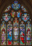 Bruges - The Crucifixion on the windowpane in St. Salvator's Cathedral (Salvatorskerk) by stained glass artist Samuel Coucke Royalty Free Stock Photography