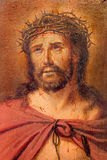 Bruges - détail de peu de peinture de Jesus Christ dans le lien par le peintre inconnu dans la boîte de confession dans l'église  Image libre de droits