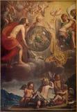 Bruges - den heliga Treenighet på skapelsen antagligen vid Jan Anton Garemjin (1712 - 1799) i den St Giles kyrkan Royaltyfri Fotografi