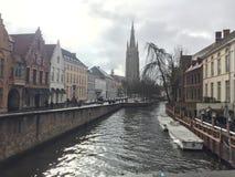 Bruges den lilla Venedig av Belgien arkivbild