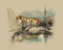Bruges embankment. Watercolor sketch. Watercolor sketch. Sepia Stock Illustration