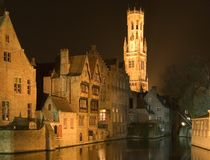Bruges entro la notte Immagine Stock