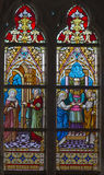 Bruges - The Espousals of Virgin Mary and st. Joseph on the windwopane in st. Jacobs church Stock Image