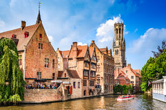 Bruges, Flanders, Belgium - Water canal with flemish houses. Royalty Free Stock Photos