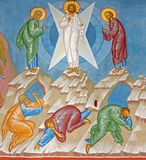 Bruges - Fresco of the Transfiguration of Jesus scene in st. Constanstine and Helena orthodx church (2007 - 2008). Royalty Free Stock Photography