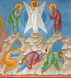 Bruges - fresque de la transfiguration de la scène de Jésus dans l'église de St Constanstine et d'orthodx de Helena (2007 - 2008) Photographie stock libre de droits